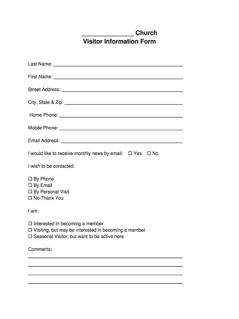 Church Visitor Form Pdf - Fill Online, Printable, Fillable inside Church Visitor Card Template