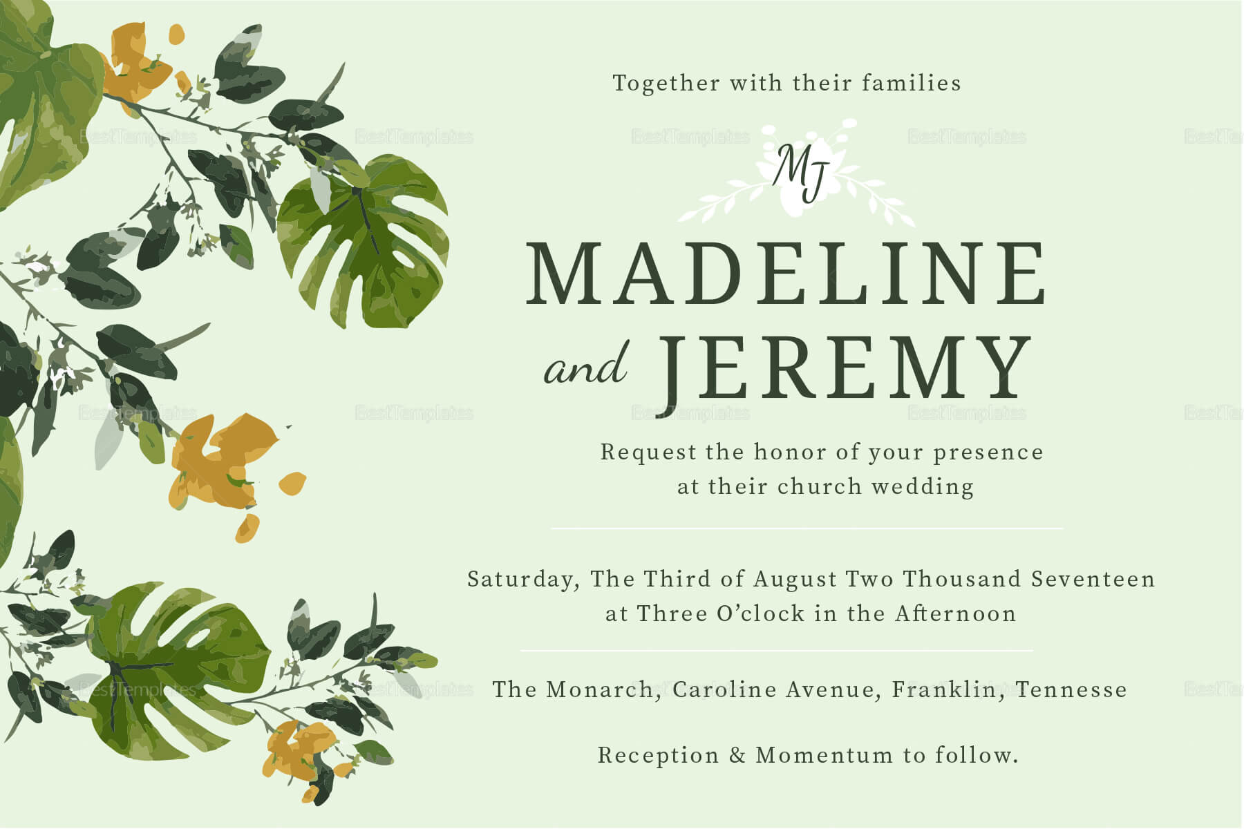 Church Wedding Invitation In Landscape And Portrait With Church Wedding Invitation Card Template