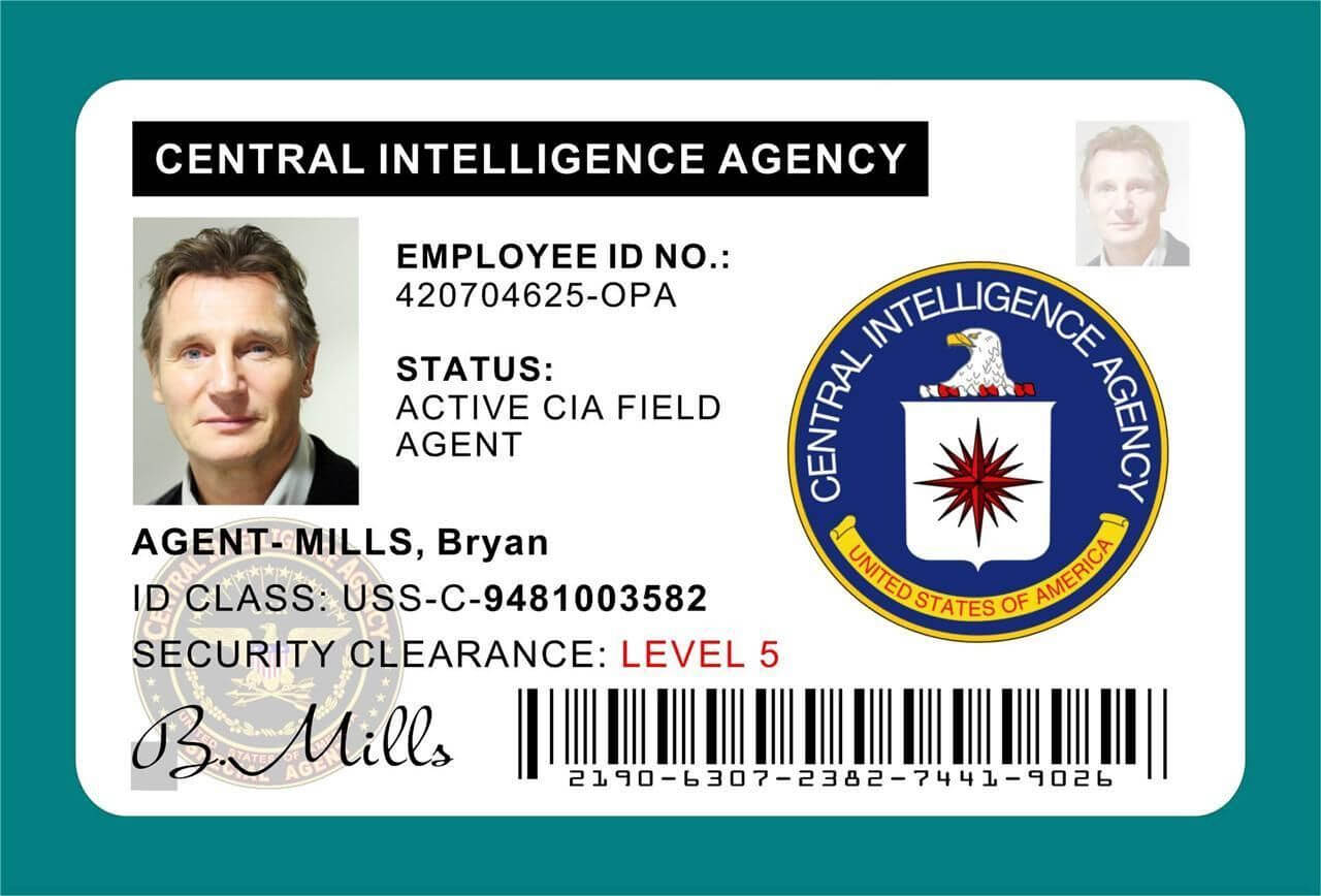 Cia Id Card Badge Prop Liam Neeson In 2019 | Central Inside Mi6 Id Card Template