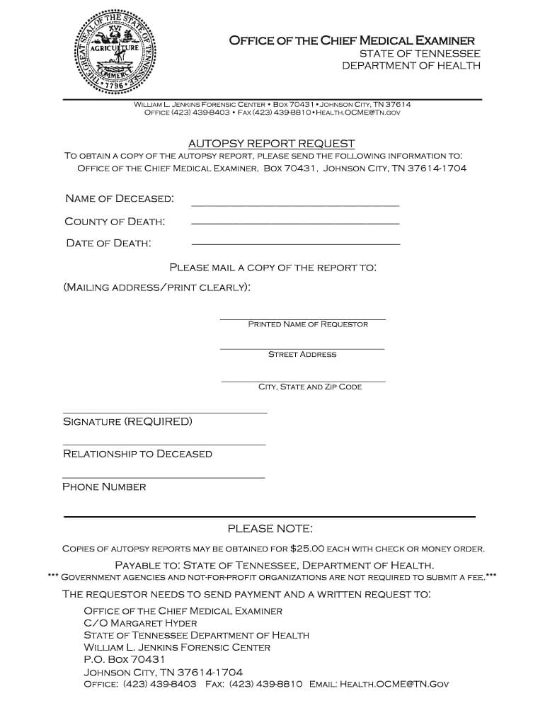 City Of Memphis Tennessee Autopsy Report – Fill Online Inside Autopsy Report Template