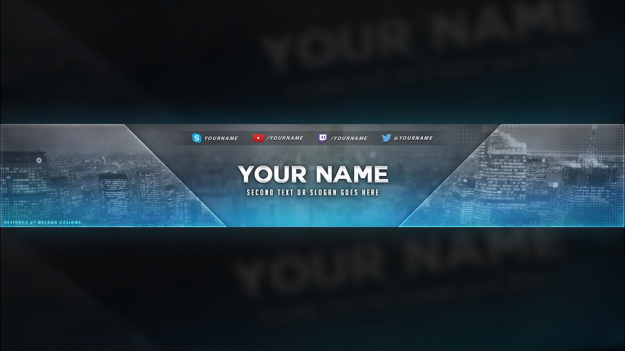 City Themed Youtube Banner Template - Free Download [Psd] Regarding Youtube Banners Template