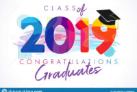 Class Of 2019 Year Graduation Banner, Awards Concept Stock for Graduation Banner Template