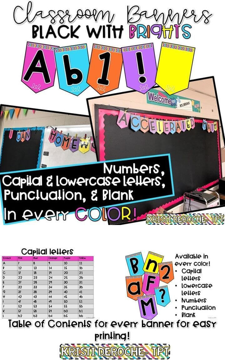 Classroom Banner  Black With Bright Colors   Classrooms Within Classroom Banner Template