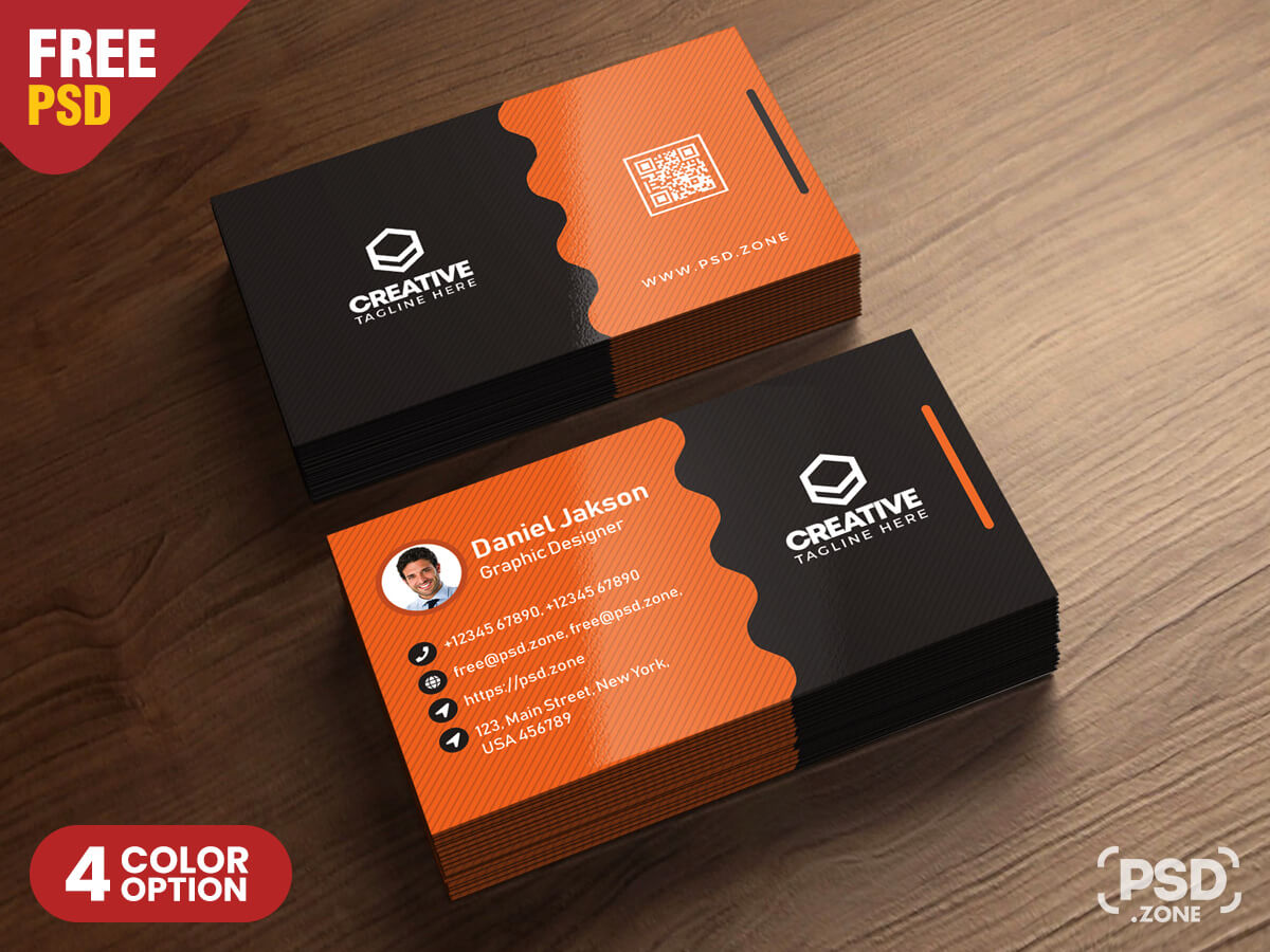 Clean Business Card Psd Templates - Psd Zone pertaining to Name Card Photoshop Template