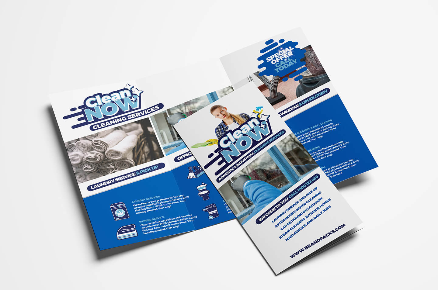 Cleaning Service Trifold Brochure Template In Psd, Ai In Cleaning Brochure Templates Free