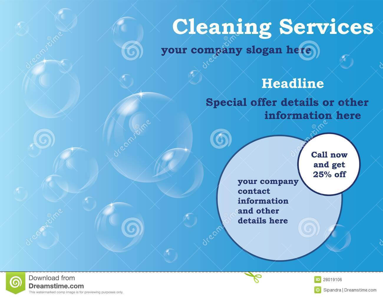 Cleaning Services Flyer Template Stock Illustration In Cleaning Brochure Templates Free