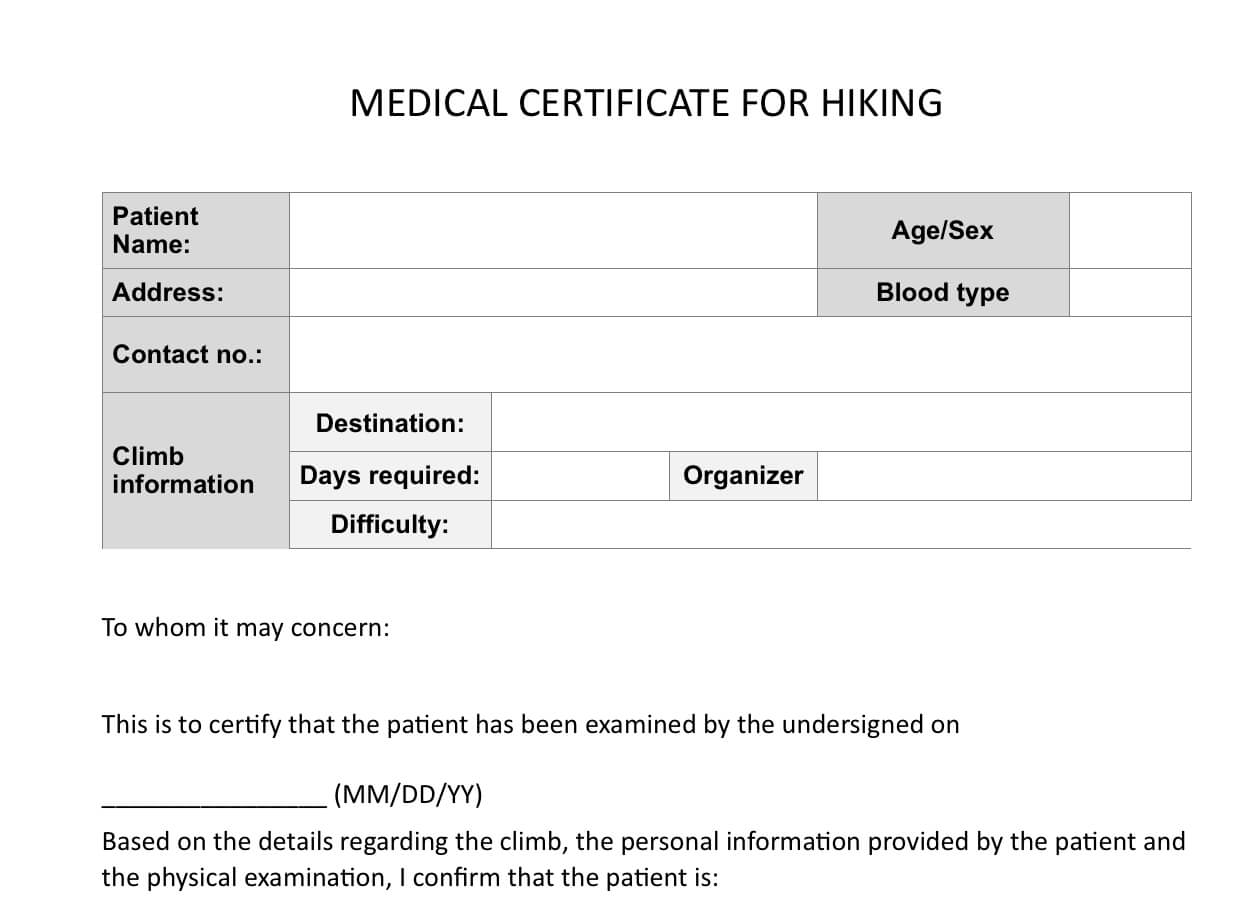 Climb Health: Sample Medical Certificate For Hiking - Pinoy throughout Fit To Fly Certificate Template