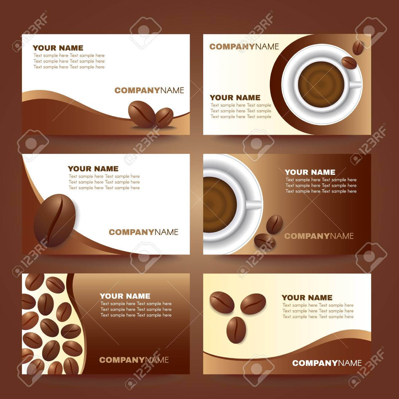 Coffee Business Card Template Vector Set Design With Regard To Coffee Business Card Template Free