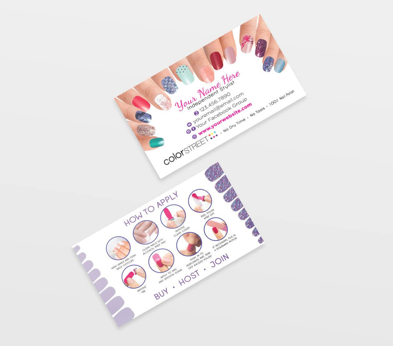 Color Street Business Card Template, Painted Nails, Editable for Push Card Template