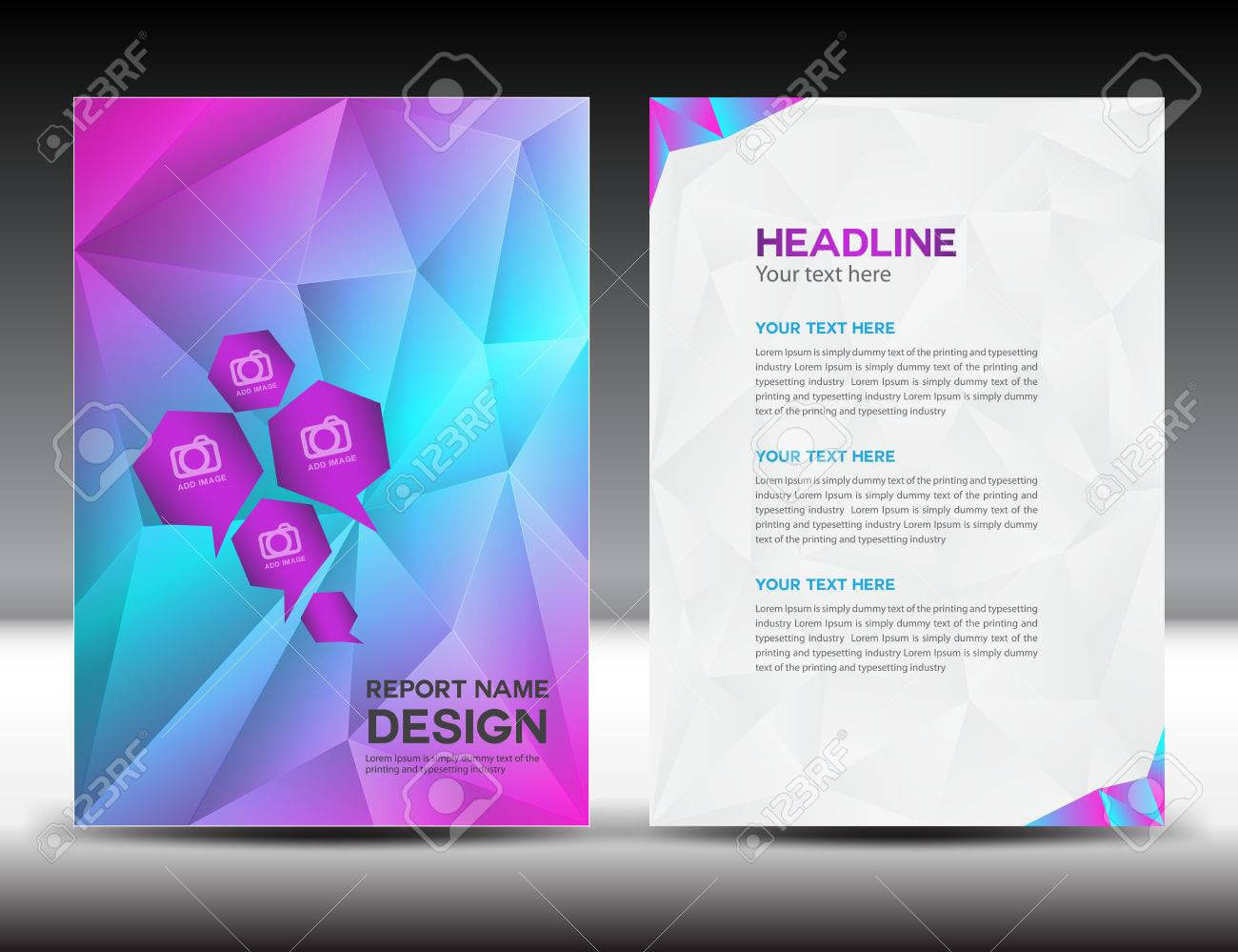 Colorful Cover Annual Report Template,polygon Background,brochure.. with Cover Page For Annual Report Template