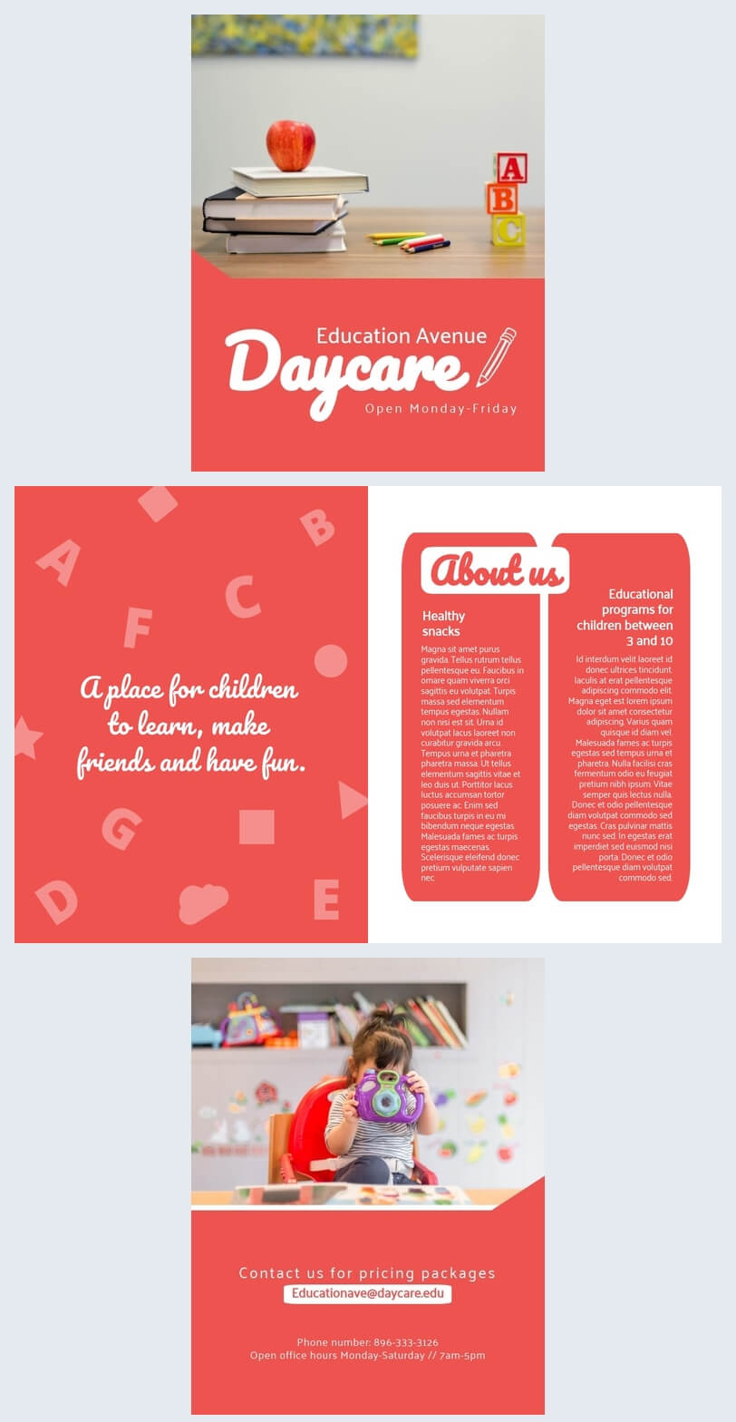 Colorful Daycare Brochure Template - Flipsnack inside Daycare Brochure Template