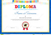 Colorful Diploma Certificate Template For Kids In Vector inside Certificate Of Achievement Template For Kids
