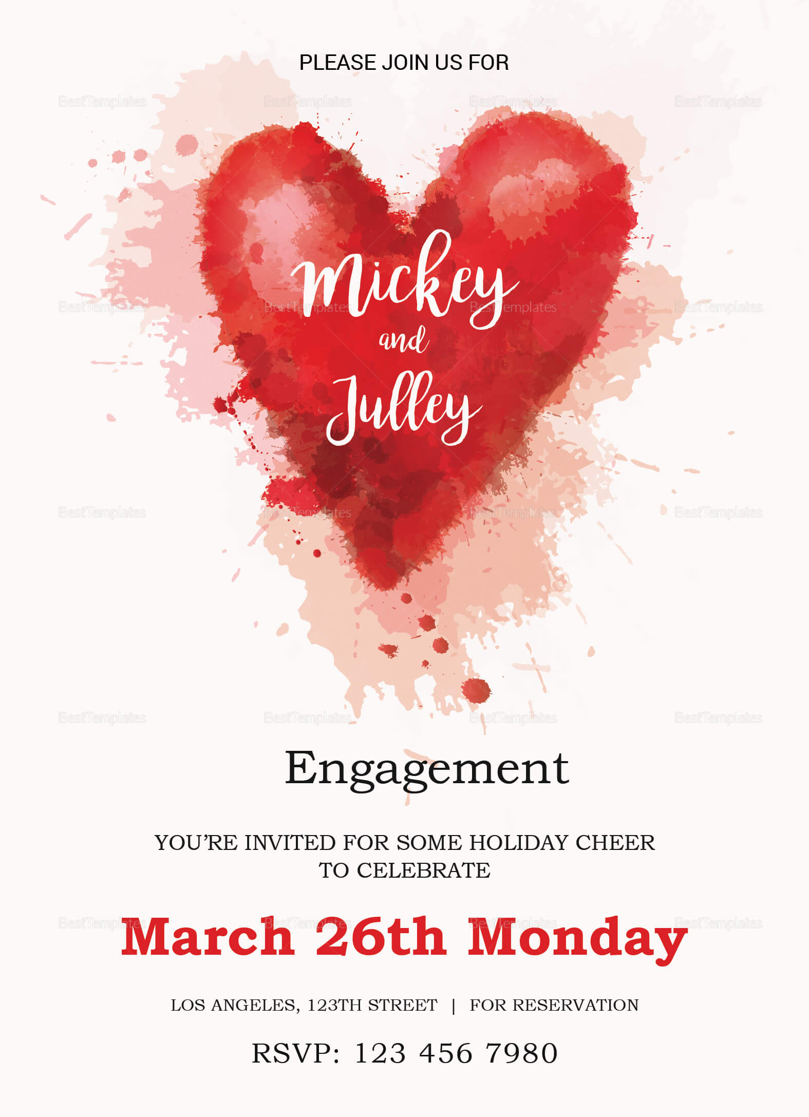 Colorful Engagement Invitation Card Template regarding Engagement Invitation Card Template