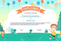 Colorful Kids Summer Camp Diploma Certificate Template In Cartoon.. for Summer Camp Certificate Template