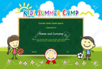 Colorful Kids Summer Camp Diploma Certificate Template In Cartoon.. pertaining to Summer Camp Certificate Template