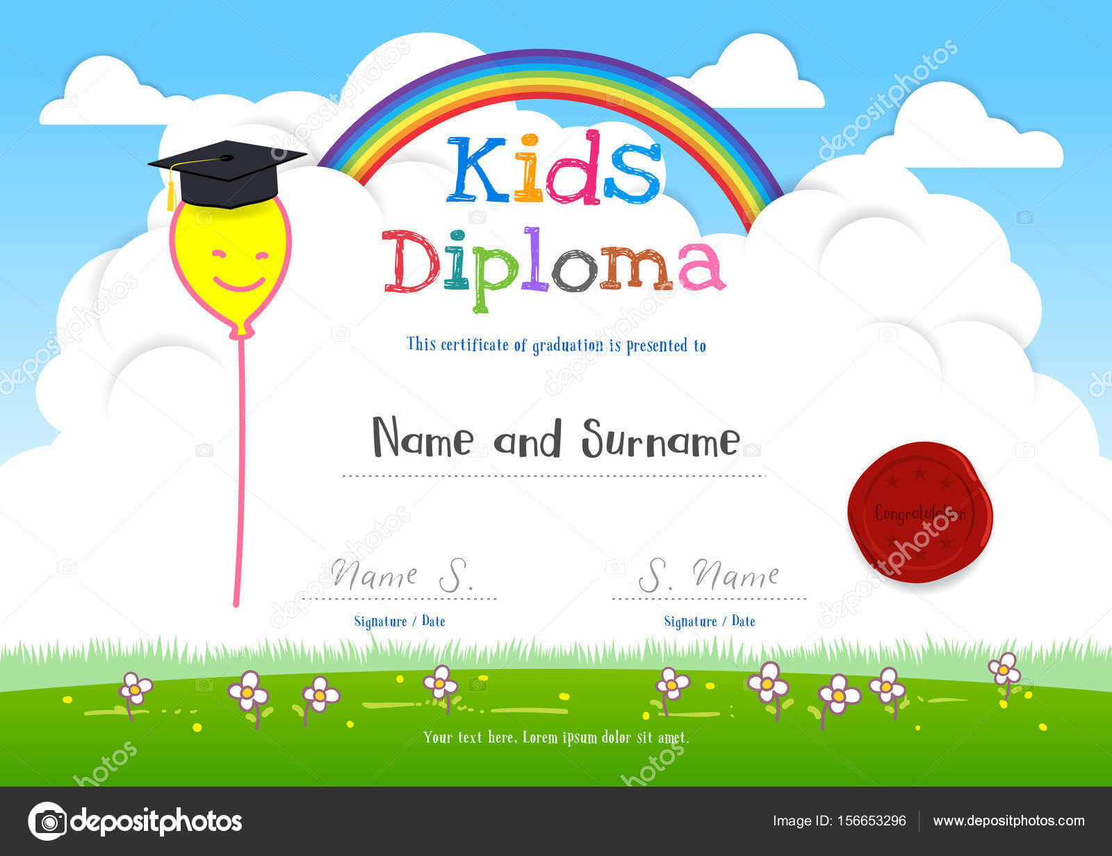 Colorful Kids Summer Camp Diploma Certificate Template In With Children's Certificate Template