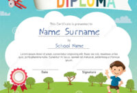 Colorful Kids Summer Camp Diploma Certificate Template Stock throughout Summer Camp Certificate Template