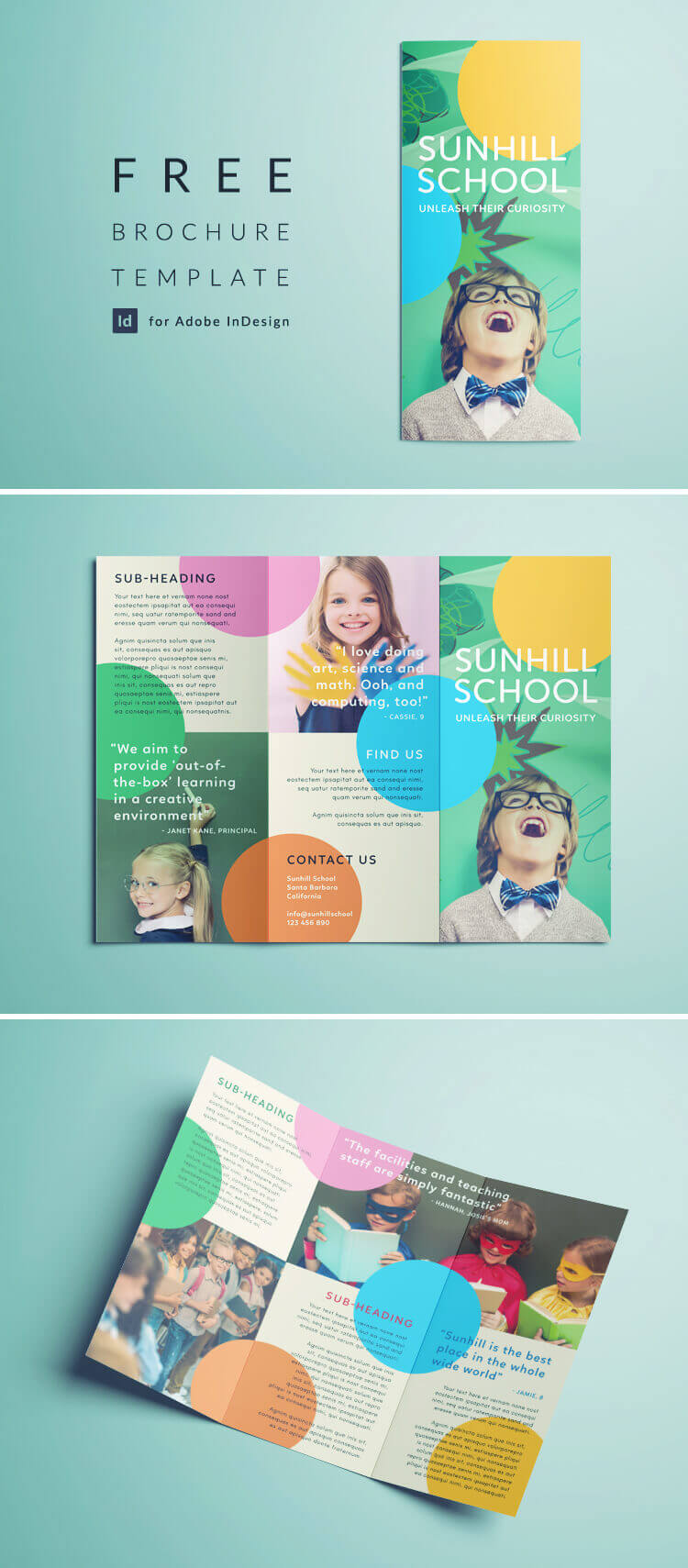 Colorful School Brochure - Tri Fold Template | Download Free Inside Play School Brochure Templates