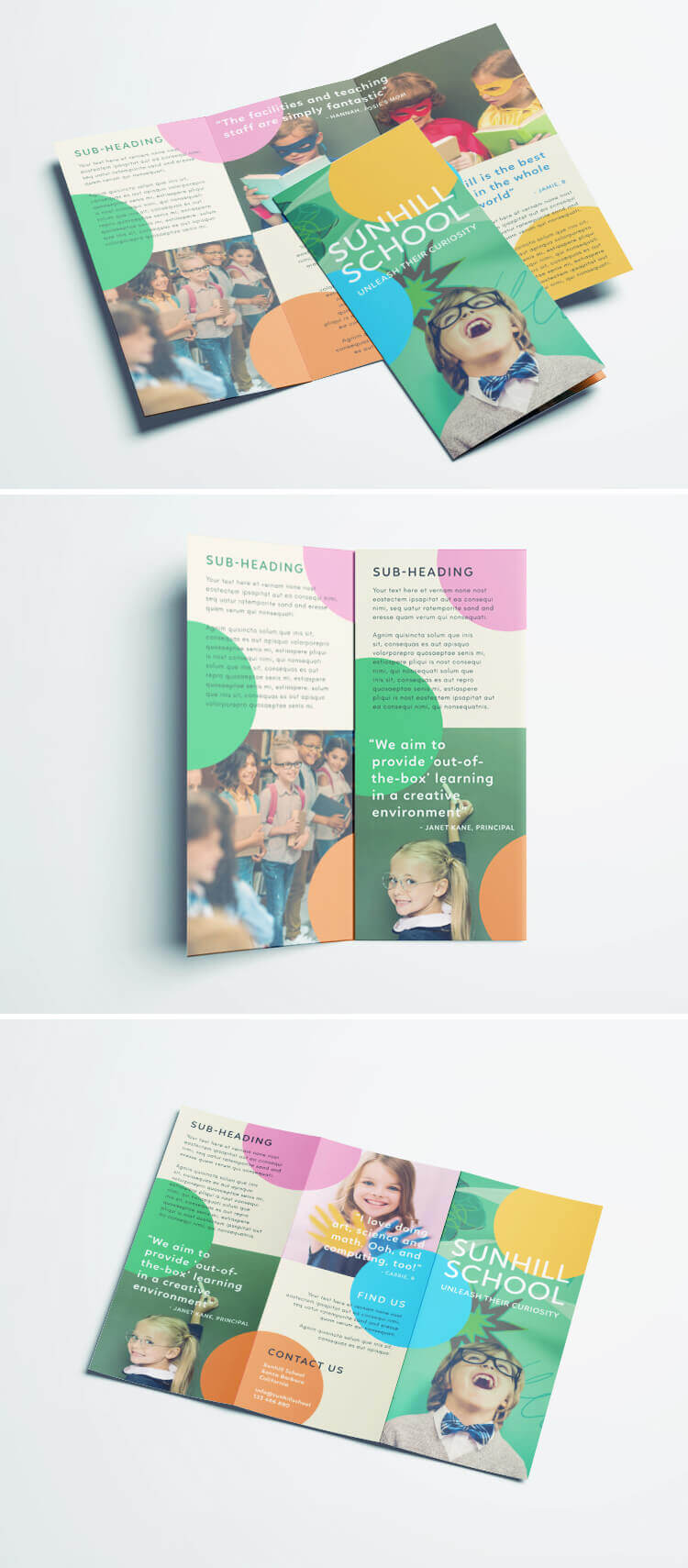 Colorful School Brochure - Tri Fold Template | Download Free pertaining to Play School Brochure Templates