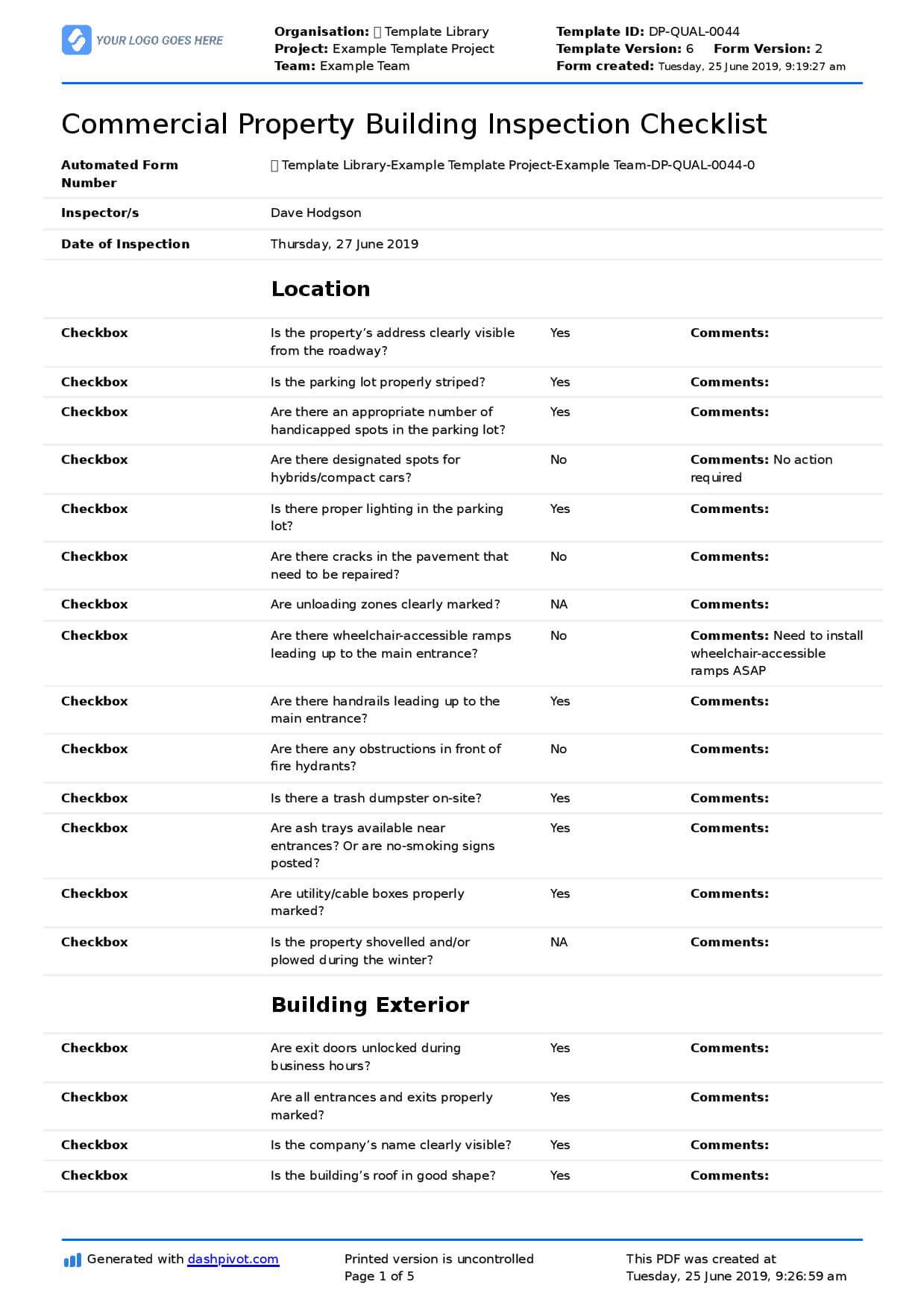 Commercial Property Inspection Checklist Template (Use It Throughout Commercial Property Inspection Report Template