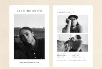 """Comp Card Template – Modeling Comp Card – Fashion Comp Card – Zed Card –  Photoshop Template – 5.5X8.5"""" within Zed Card Template"""