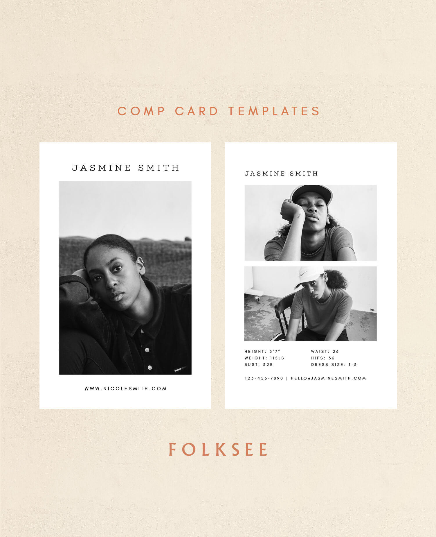 """Comp Card Template - Modeling Comp Card - Fashion Comp Card - Zed Card -  Photoshop Template - 5.5X8.5"""" within Zed Card Template"""