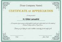 Company Employee Appreciation Certificate Template intended for In Appreciation Certificate Templates