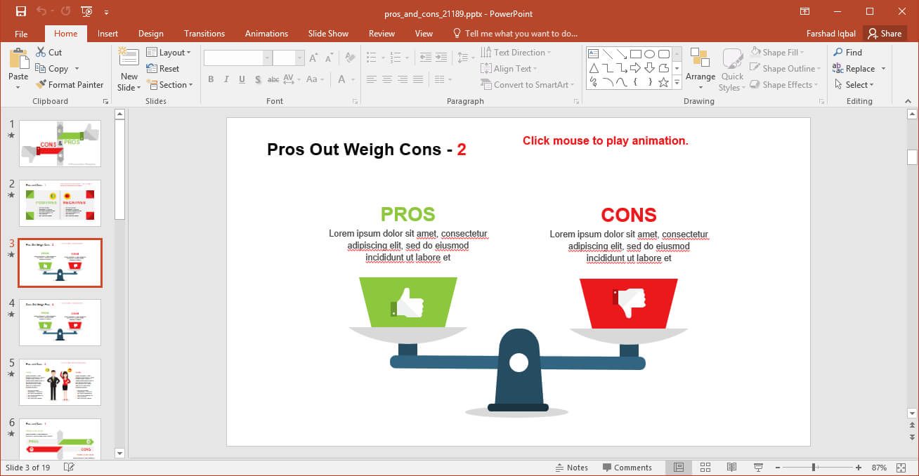 Comparing Pros And Cons Powerpoint Template in Powerpoint Replace Template