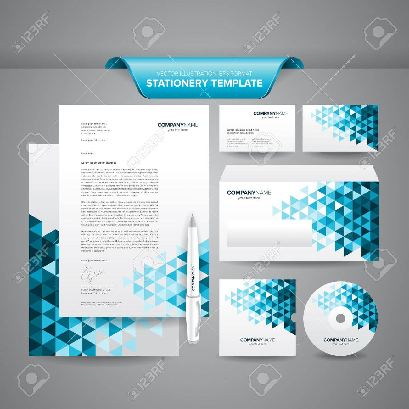 Complete Set Of Business Stationery Template Such As Letterhead,.. With Business Card Letterhead Envelope Template