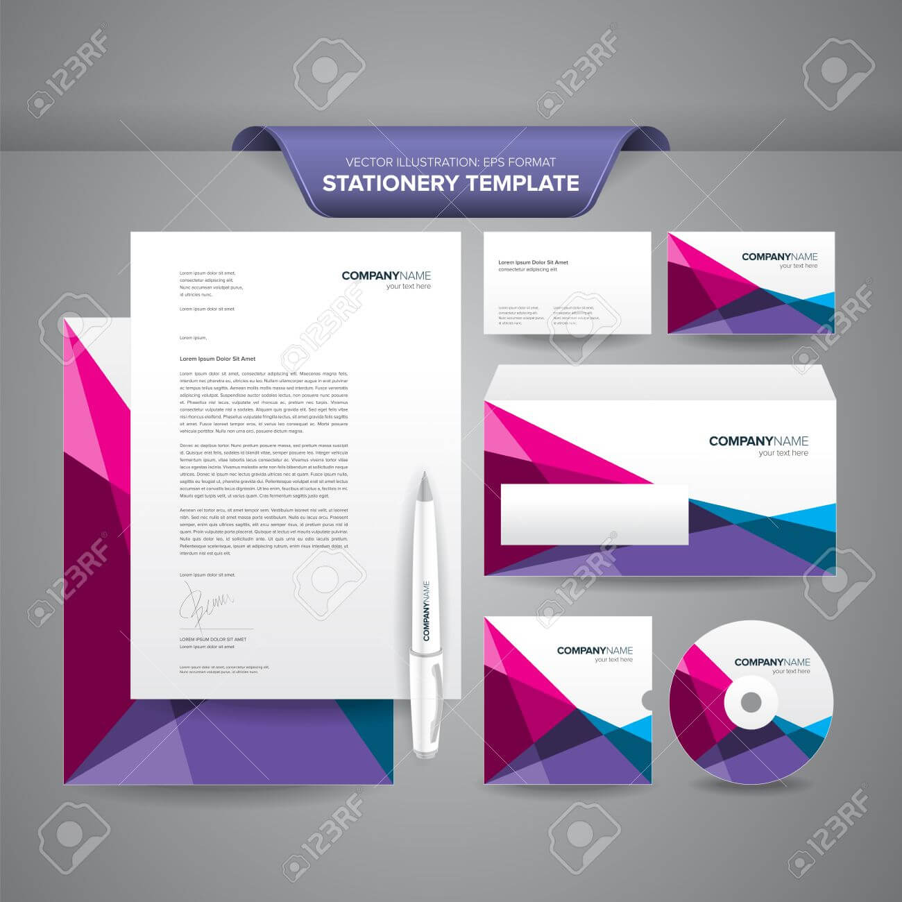 Complete Set Of Business Stationery Templates Such As Letterhead,.. Throughout Business Card Letterhead Envelope Template