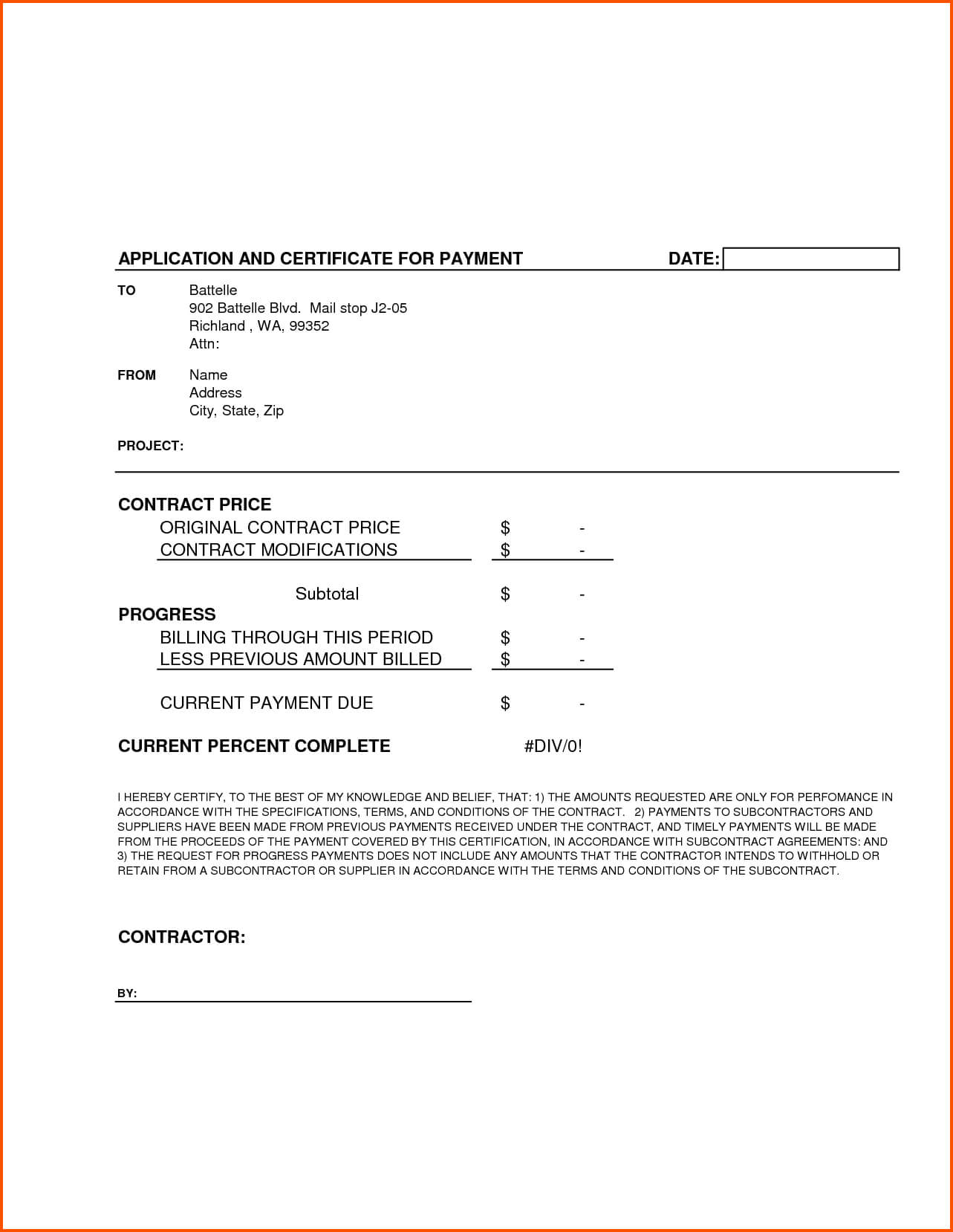 Completion Template Doc Certificate Certification Letter For intended for Construction Certificate Of Completion Template