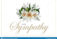 Condolences Sympathy Card Floral Lily Bouquet And Lettering inside Sympathy Card Template