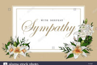 Condolences Sympathy Card Floral Lily Bouquet And Lettering with regard to Sympathy Card Template