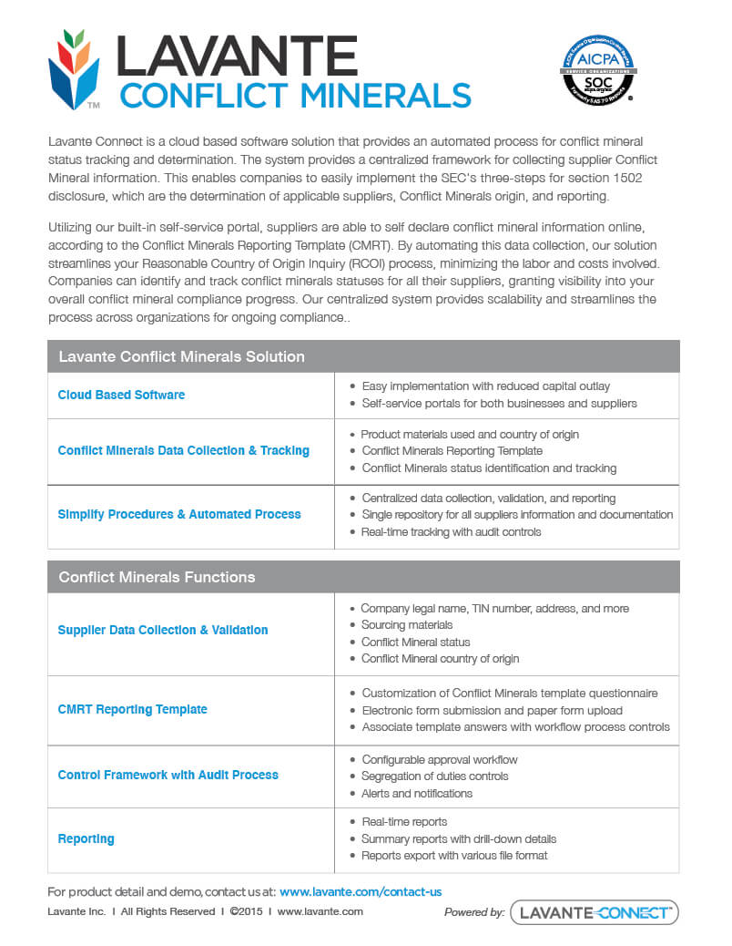 Conflict Minerals Product Overview - Lavante intended for Conflict Minerals Reporting Template