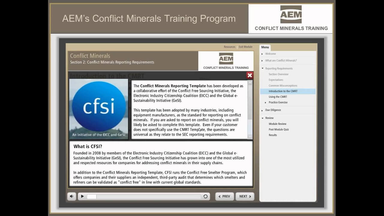 Conflict Minerals Training - Aem | Association Of Equipment pertaining to Eicc Conflict Minerals Reporting Template