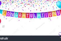 Congratulations Banner Template Balloons Confetti Isolated regarding Congratulations Banner Template