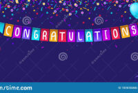 Congratulations Banner Template With Balloons And Confetti for Congratulations Banner Template