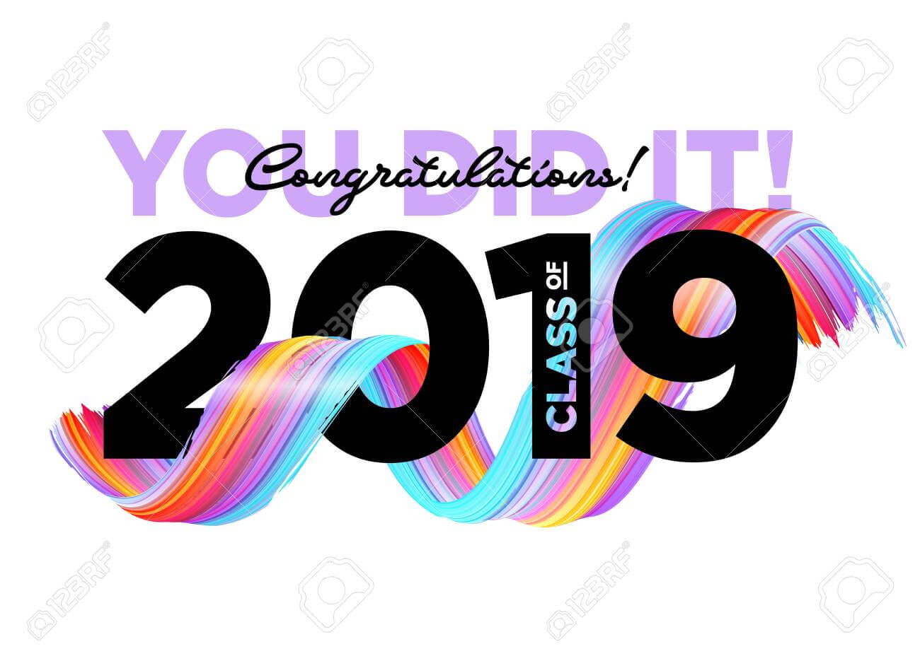 Congratulations Graduates Class Of 2019 Vector Logo. Graduation.. regarding Graduation Banner Template