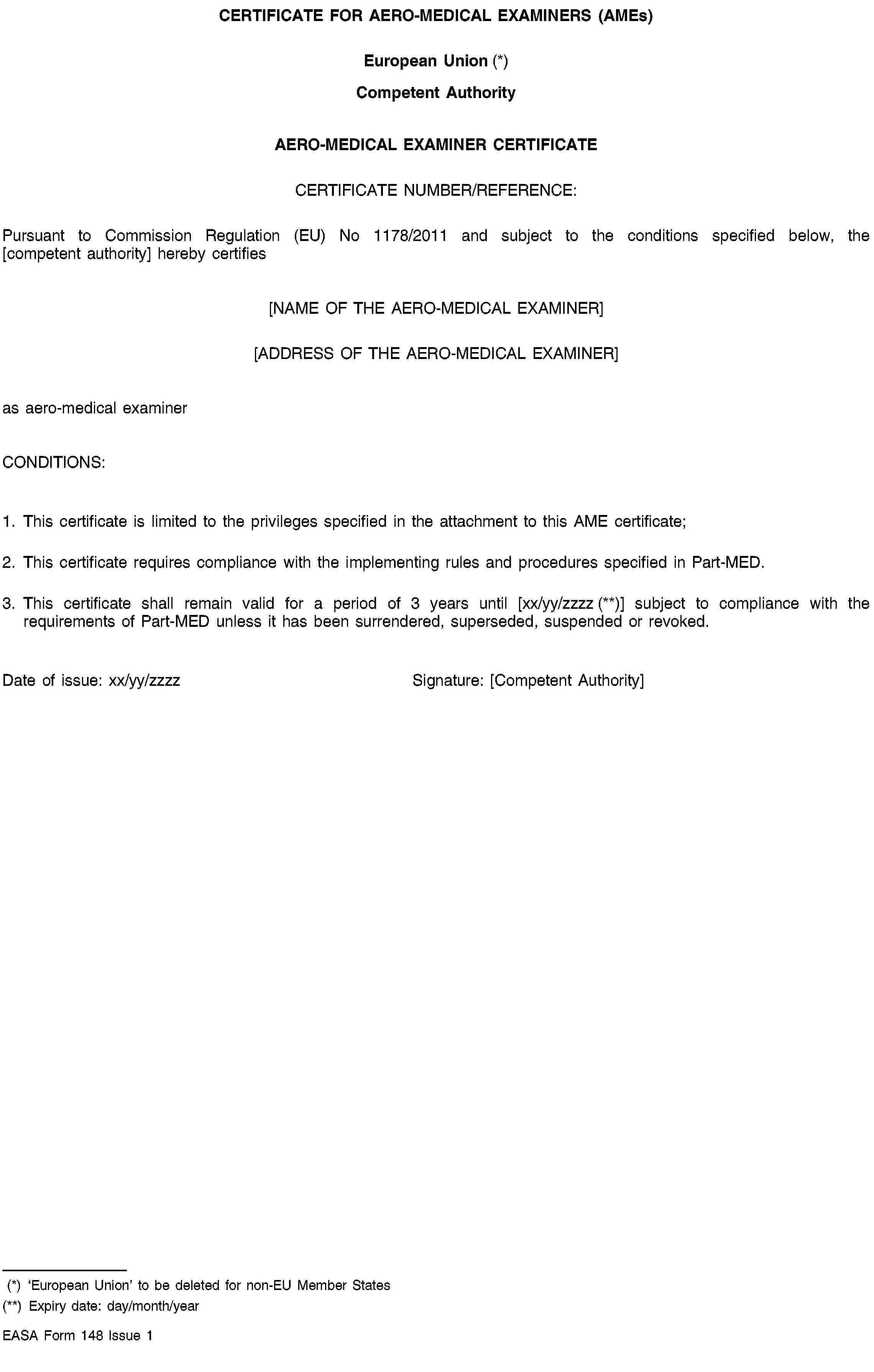 Consolidated Text: 32011R1178 — En — 03.04.2014 regarding Fit To Fly Certificate Template