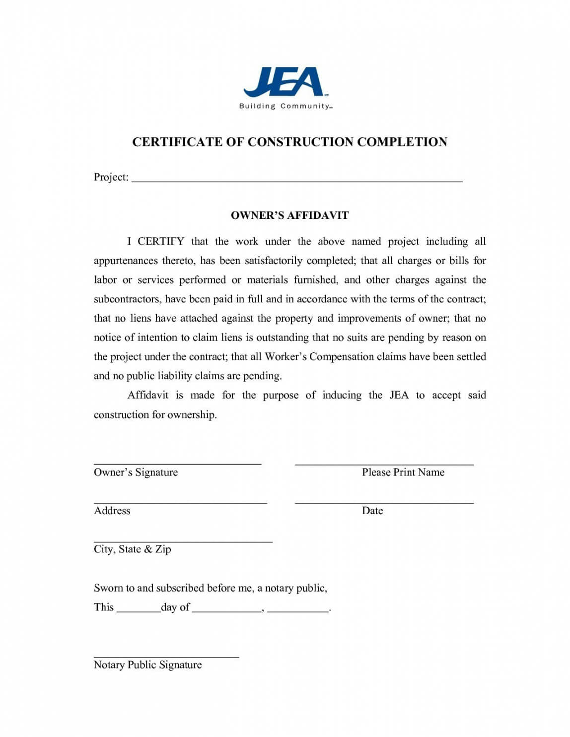 Construction Completion Certificate Template | Emetonlineblog regarding Certificate Template For Project Completion