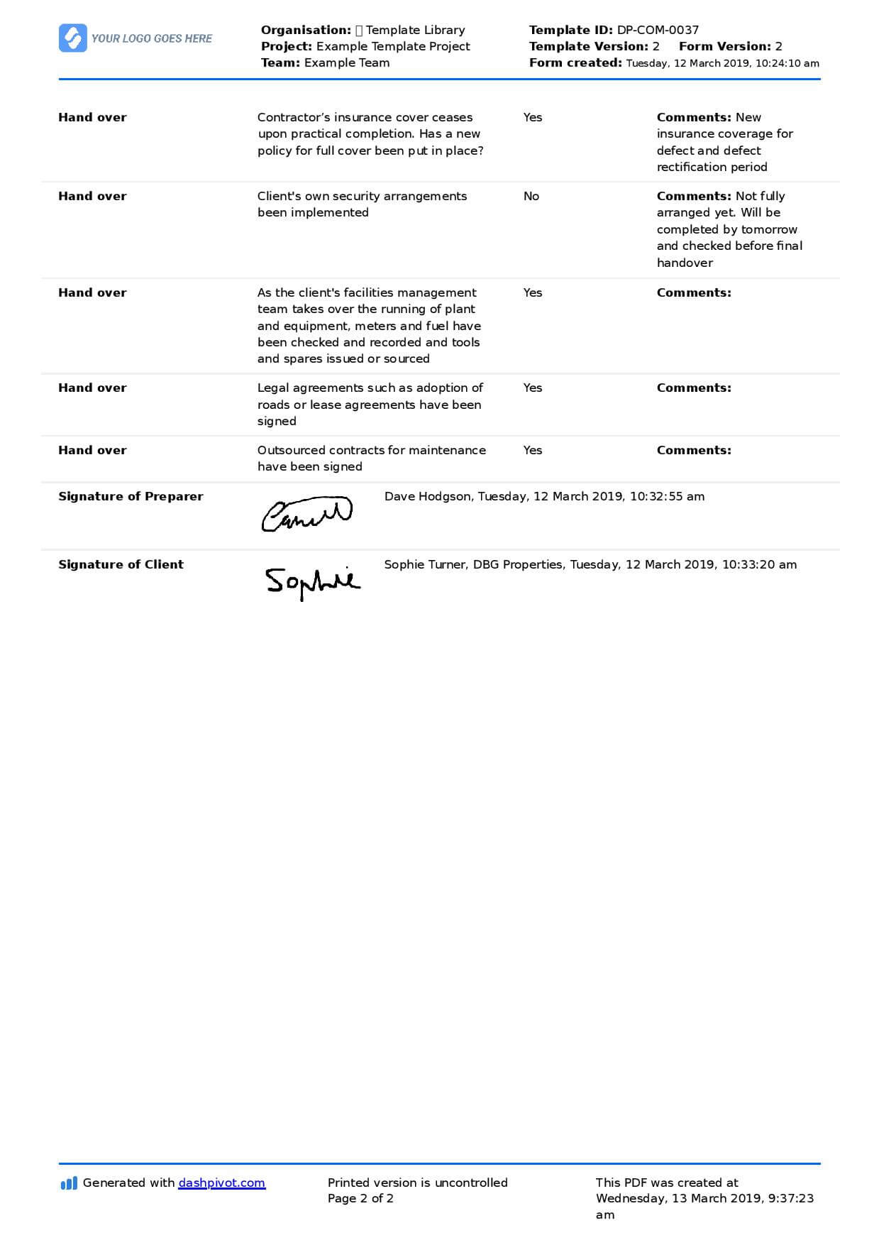Construction Project Handover Document Sample To Use Or Copy pertaining to Handover Certificate Template