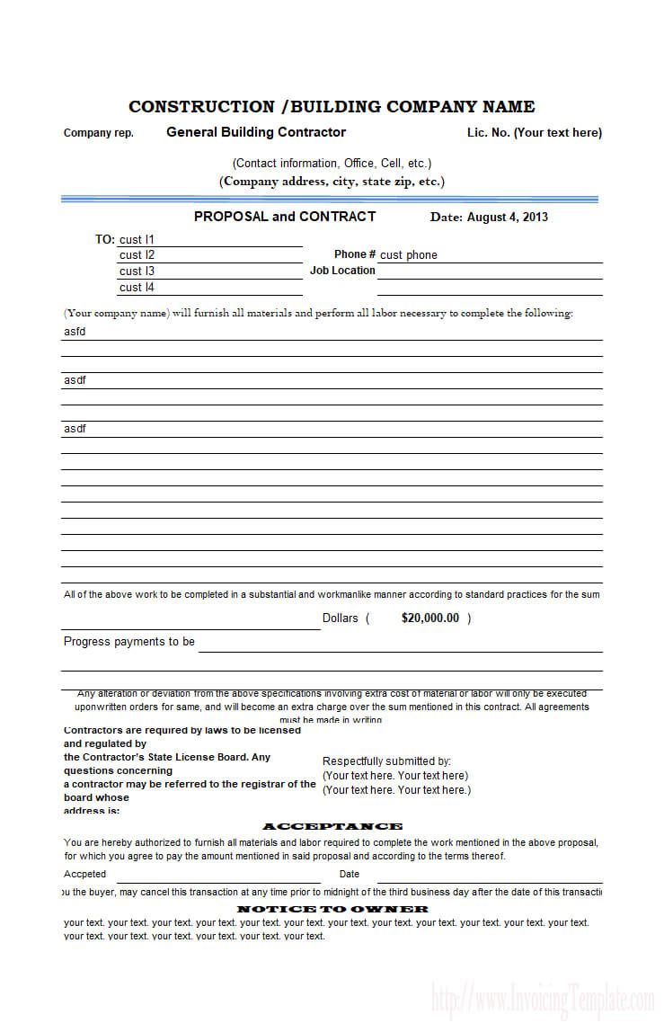 Construction Proposal Template throughout Free Construction Proposal Template Word