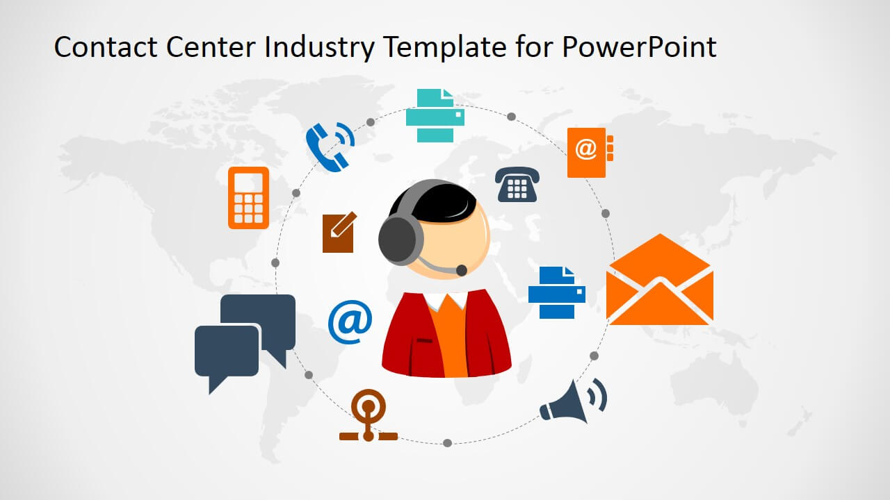 Contact Center Industry Powerpoint Template Throughout Powerpoint Templates For Communication Presentation