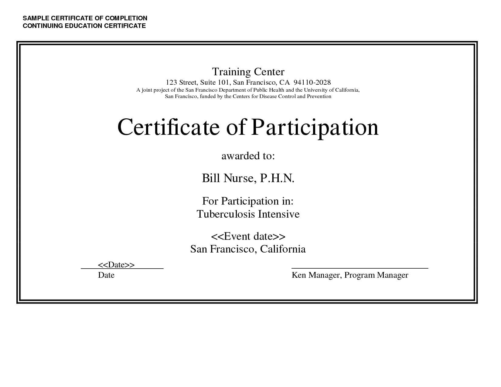 Continuing Education Certificate Template – Carlynstudio In Continuing Education Certificate Template