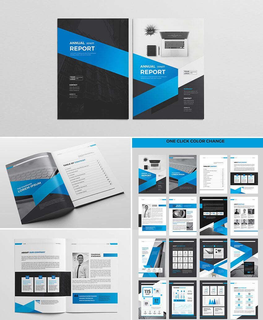 Cool Indesign Annual Corporate Report Template | Report For Adobe Indesign Brochure Templates