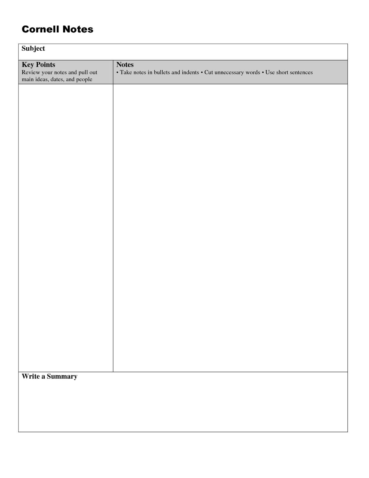 Cornell Note Taking Template Word | Cornell Notes, Cornell regarding Cornell Note Template Word