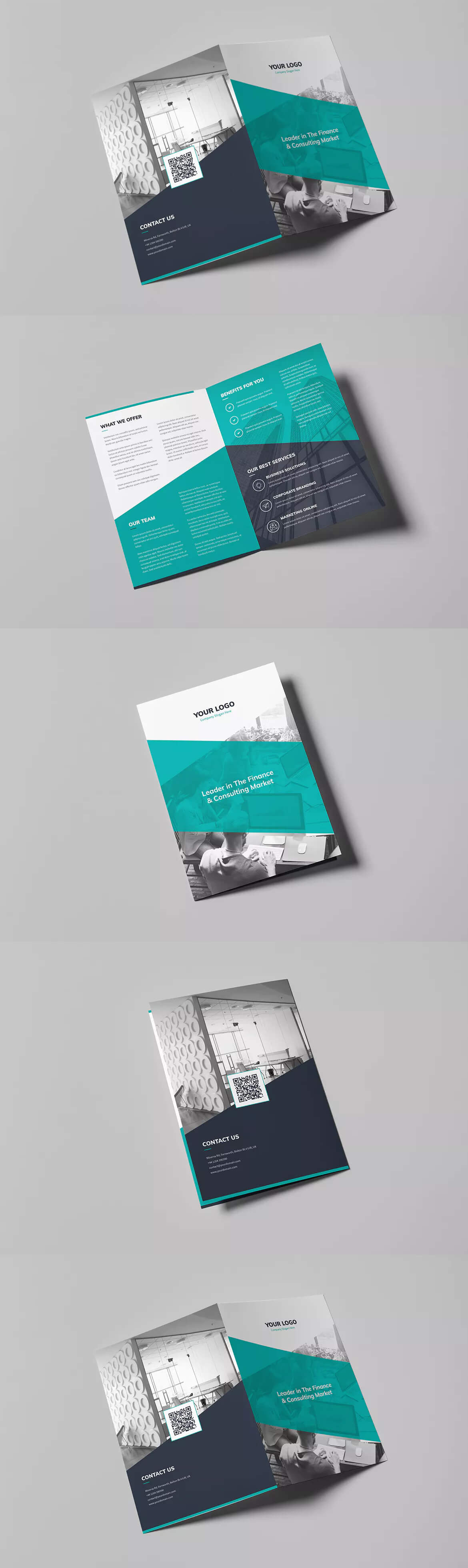 Corporate Bi-Fold Brochure Template Psd A4 And Us Letter with regard to Letter Size Brochure Template