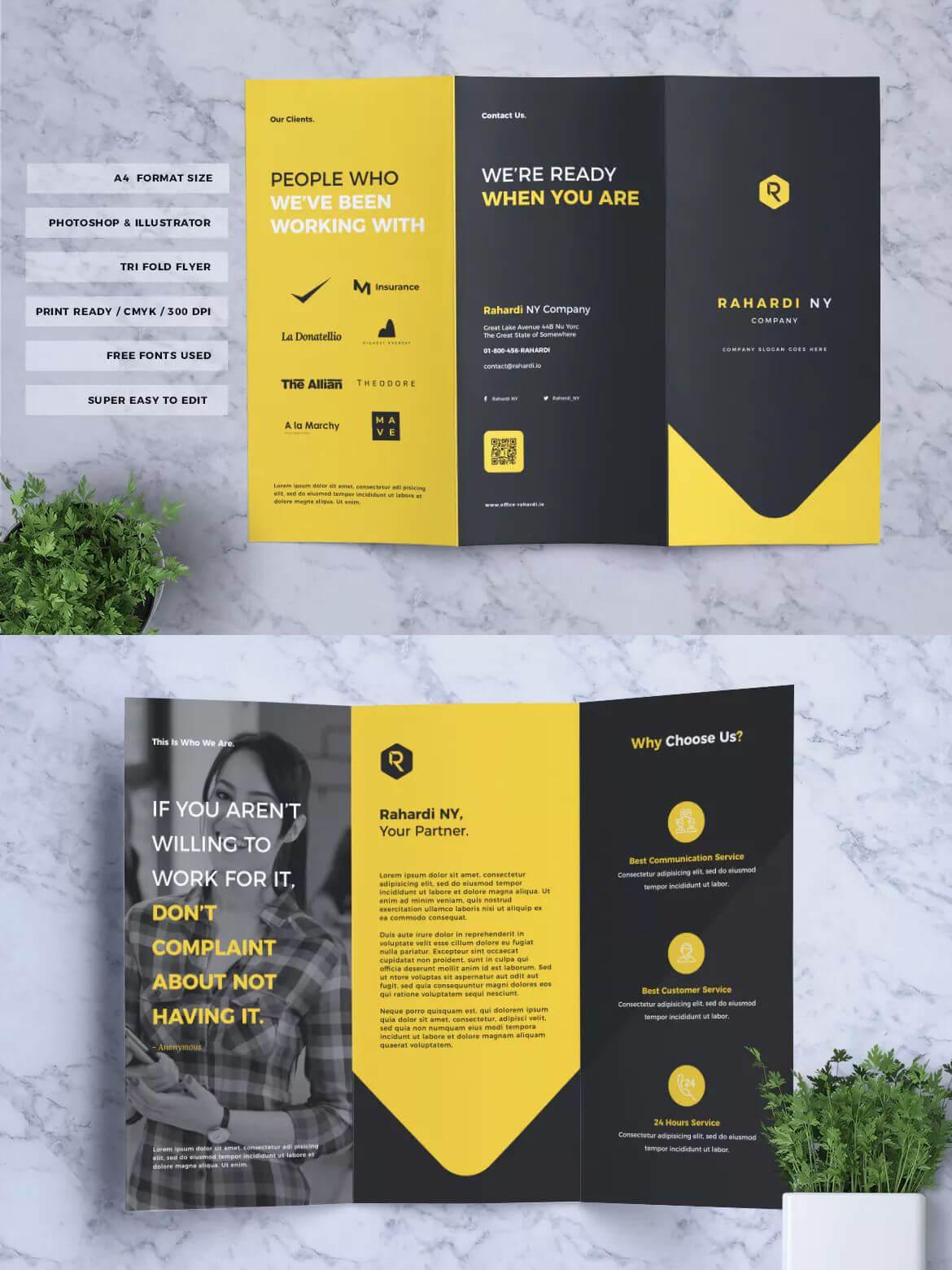 Corporate Business Tri Fold Brochure Template Psd, Ai, Eps Within 3 Fold Brochure Template Psd