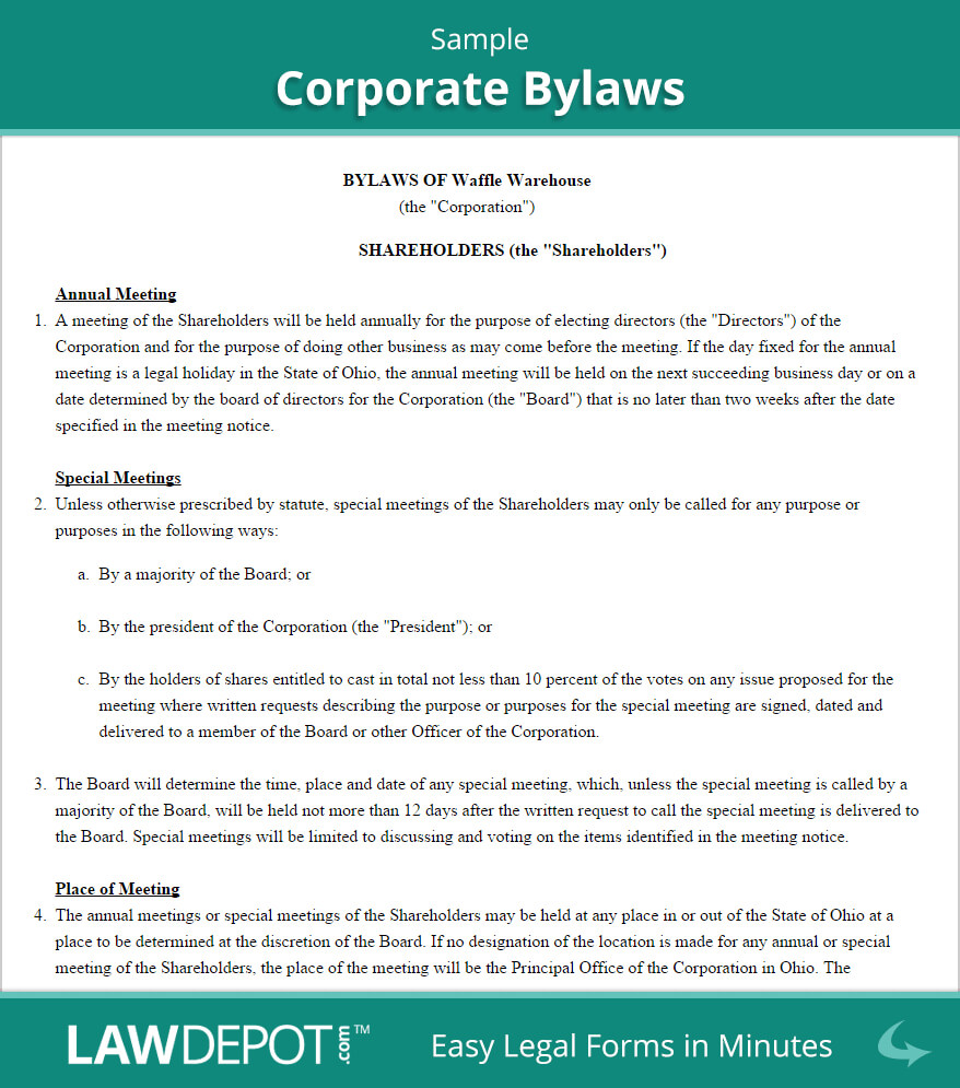 Corporate Bylaws Template (Us) | Lawdepot inside Corporate Bylaws Template Word