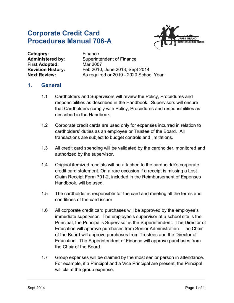 Corporate Credit Card Procedures Manual 706 A Pertaining To Company Credit Card Policy Template